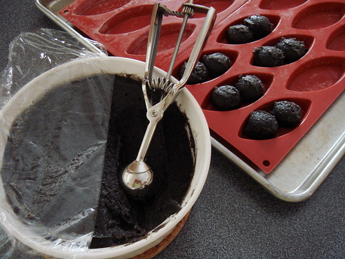 Black Sesame Financier with Poached Pear: Scooped