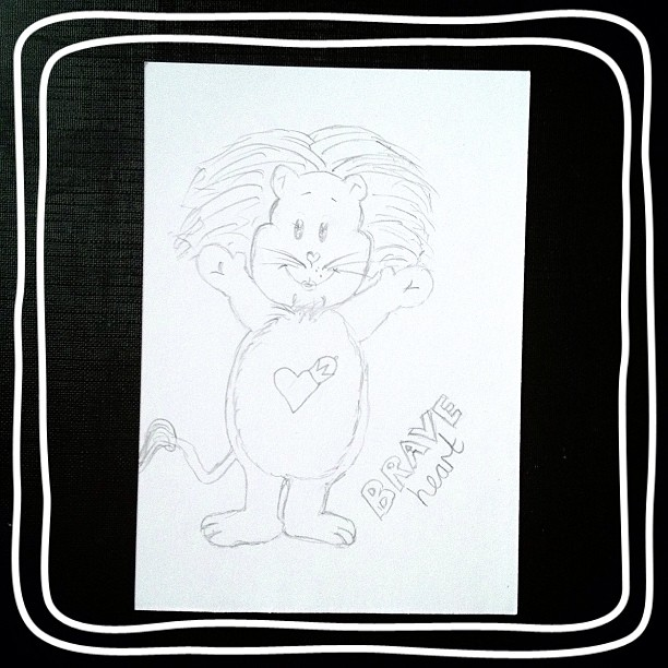 Day 14: brave I 'tried' drawing #braveheart from the #carebears I don't think it looks anything like it which is why I didn't add colour #doodleaday #doodleadaymarch