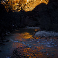 Virgin River by morning light - Zion NP - 2-17-08  01