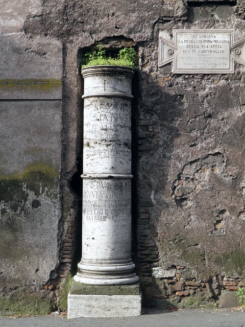 Prima Colonna Miliaria (replica), a milestone on the Via Appia, the roman numeral I in the top band indicates that it is one mile away from the Milliarium Aureum in Campidoglio, Via Appia