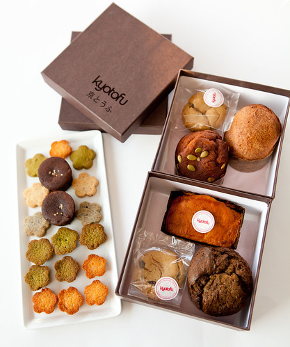 Boxes of gluten-free cakes and cookies
