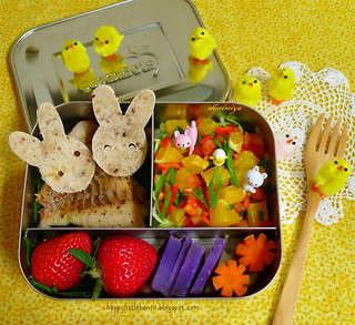 Easter Bunny Pals Deconstructed Fish Tacos LunchBot Bento