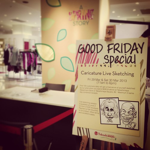 caricature live sketching for Takashimaya Good Friday Special - a