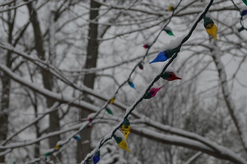 Snowy Christmas lights