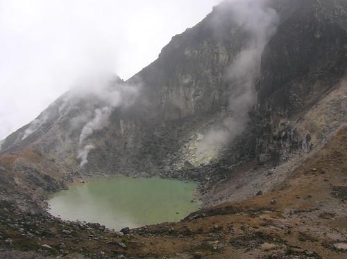Smoking Gunung Sibayak Caldera