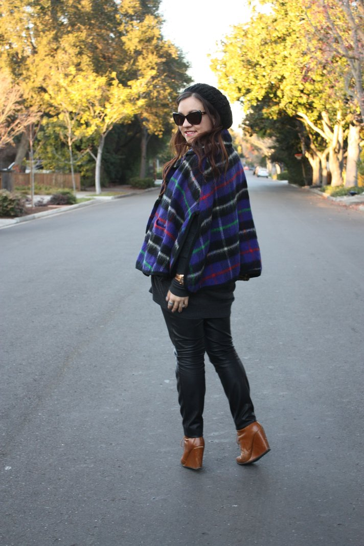 SF Bay Area Fashion and Lifestyle Blog: plaid cape, slouchy beanie, leather skinny pants, brown lace-up wedge booties, house of harlow sunglasses, sequin zara clutch