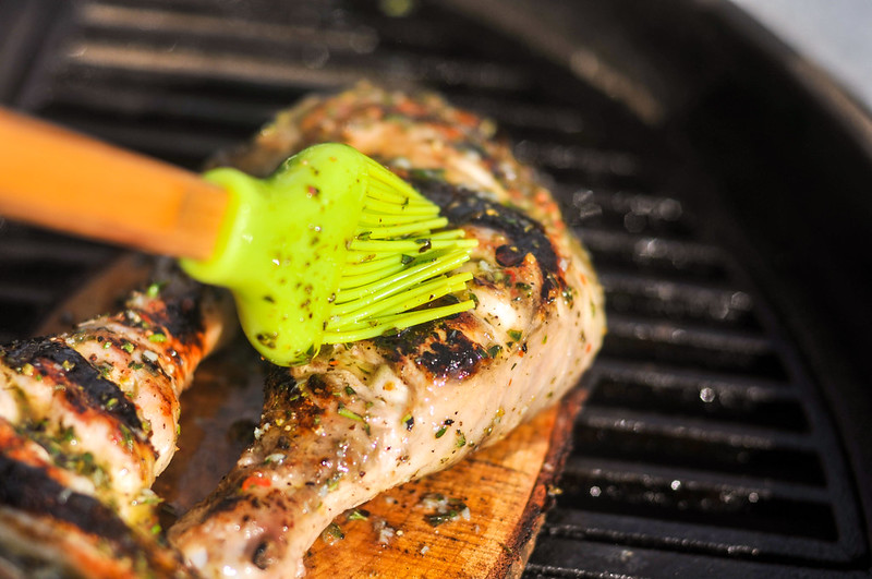 Planked Chicken Quarters with Lemon and Herb