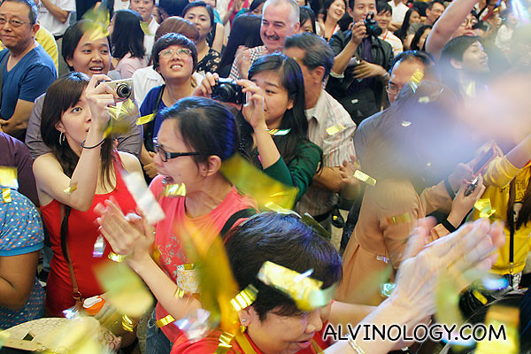 Mr Peh's supporters go crazy offstage
