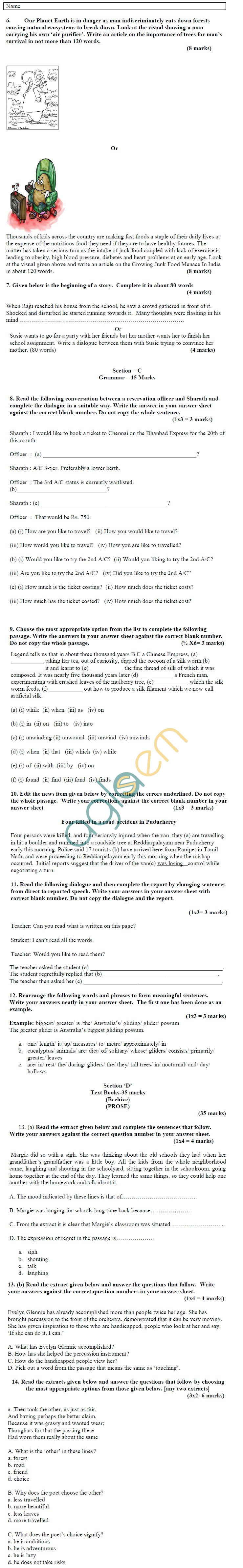 CBSE Board Exam 2013 Sample Papers (SA1) Class IX - English Lang. & Lit.
