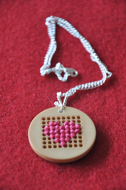 Cross Stitch Heart Necklace