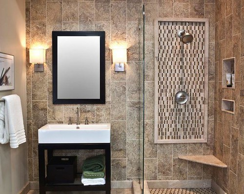 Travertine tile with glass accents