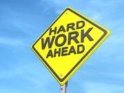 Hard Work Ahead Yield Sign