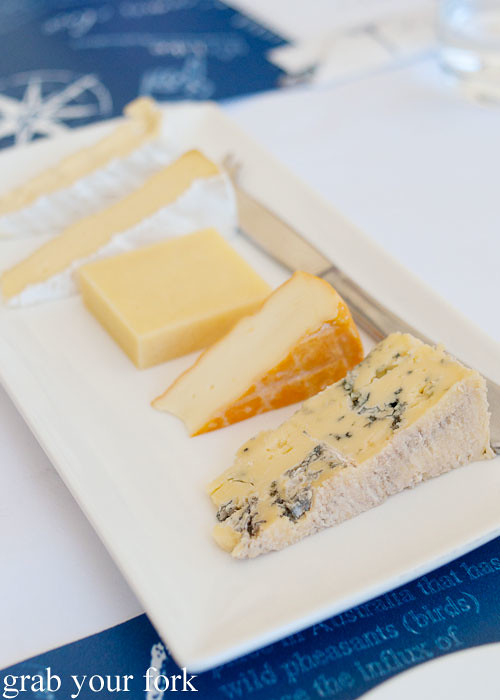 King Island Dairy cheeses Roaring 40s Blue; Black Label Huxley Washed Rind; Surprise Bay Cheddar; Cape Wickham Double Brief and Furneaux Double Cream