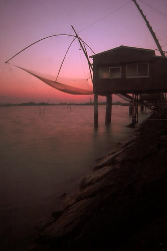 sunset evening hut 夕景 岡山市 四つ手網 児島湾