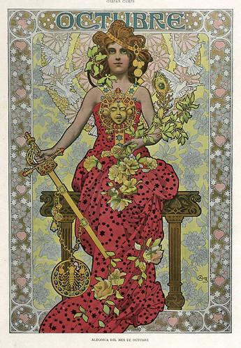 010-Alegoria del mes de Octubre- Gaspar Camps-Revista Álbum Salón-Enero de 1901 -Hemeroteca de la Biblioteca Nacional de España