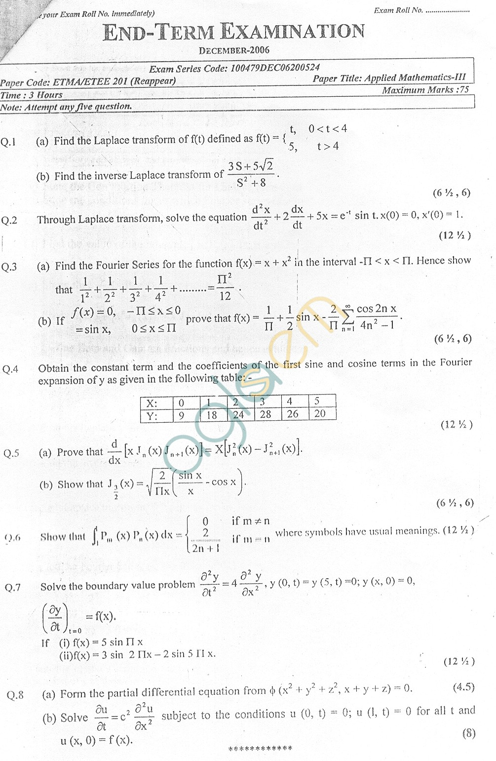 GGSIPU Question Papers Third Semester – End Term 2006 – ETEE-201