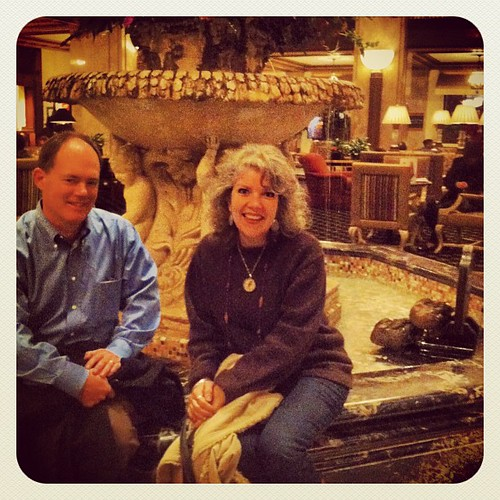 My hunky hubby +  ducks + me at The Peabody = sheer happiness 2-15-13 #peabodyhotel #peabodyducks #smiles #happy #marriedromance #ilovethisman #fountain #fun #fancy #memphis #tourists
