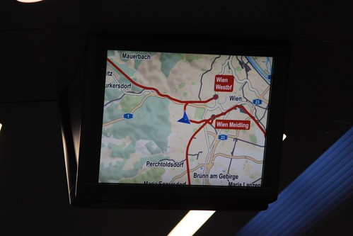 GPS location map onboard an ÖBB 'Railjet' train