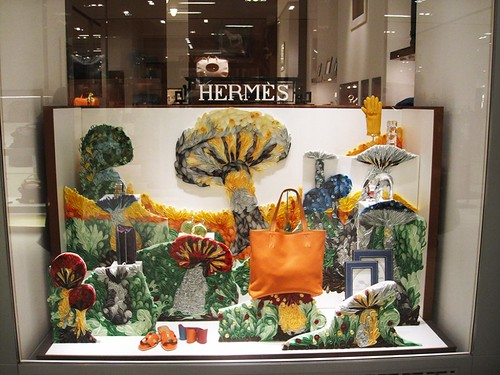 Quilled Mushrooms and Luxury Items in a Dutch Hermès Store Window Display