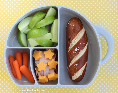 soft pretzel and apple lunch in Boon Elephant Trunk Snack Box