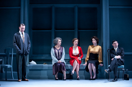Richard Conlon, Irene Macdogall, Emily Winter, Jessica Tomchak and Andy Clark in Time and the Conways at the Royal Lyceum Theatre. Photo © Tommy Ga-Ken Wan