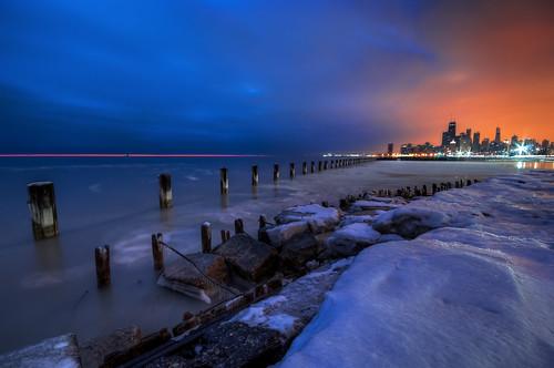 morning blue sea orange cloud lake snow chicago tower ice beach water wall skyline sunrise dawn early illinois nikon long downtown michigan sears sigma cover hancock 1020mm trump fullerton willis d90 expoersure