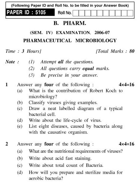 UPTU B.Pharm Question Papers PHAR-242 - Pharmaceutical Microbiology