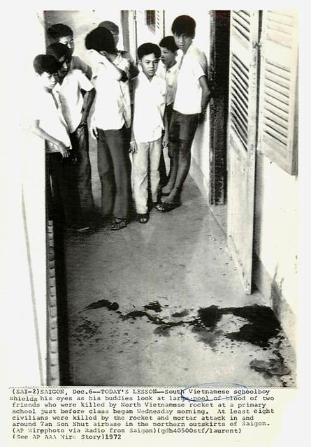 1972 Vietnamese Boys by Pool of Blood After Rocket Hits School - Press Photo