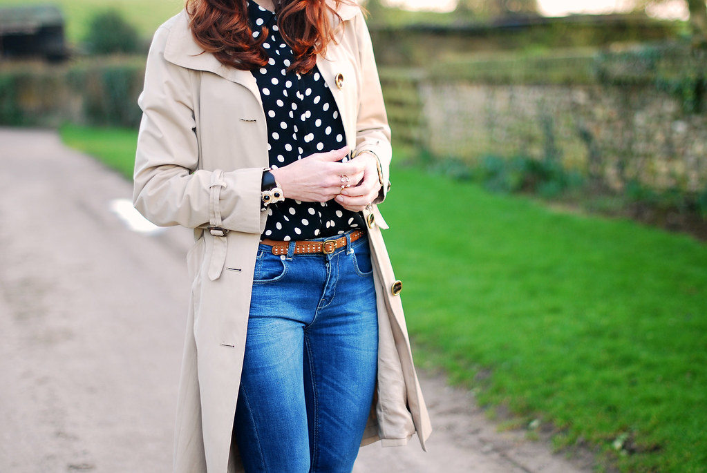 Polka dots and trenchcoat