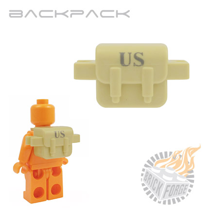 Backpack - Tan (dark bley US print)