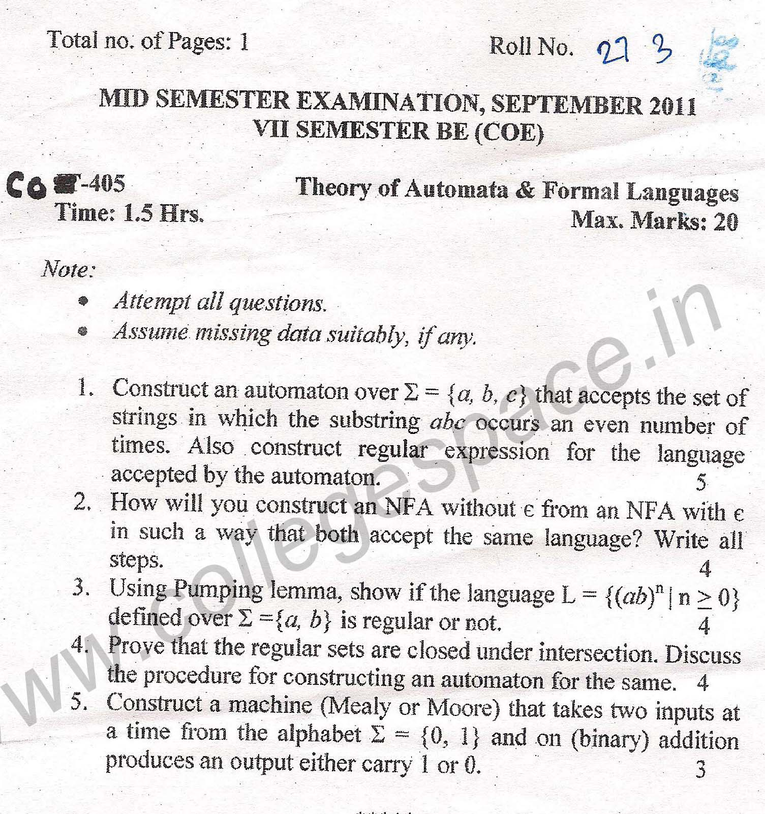 NSIT Question Papers 2011 – 7 Semester - Mid Sem - COE-405