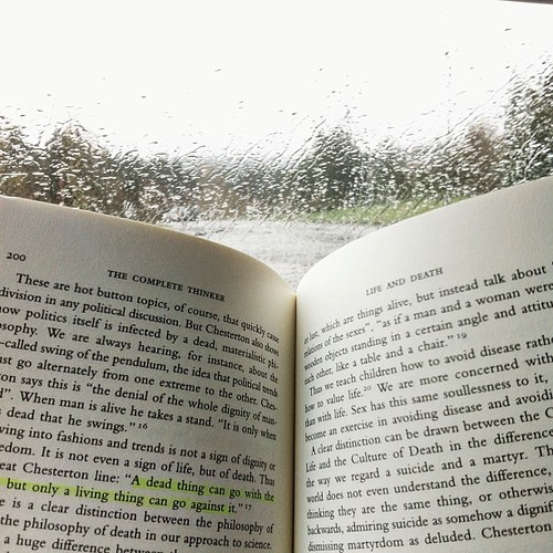 Rainy day reading #gkchesterton #PicTapGo