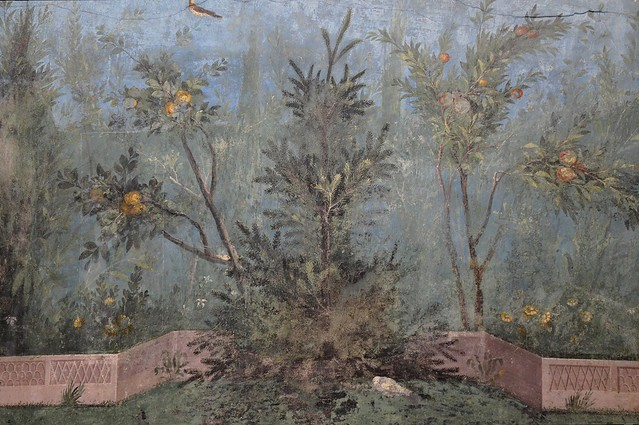 The Garden Painting of the Villa of Livia at Prima Porta in Rome (30-20 BC), detail with pine tree and pomegranate, Palazzo Massimo alle Terme, Rome