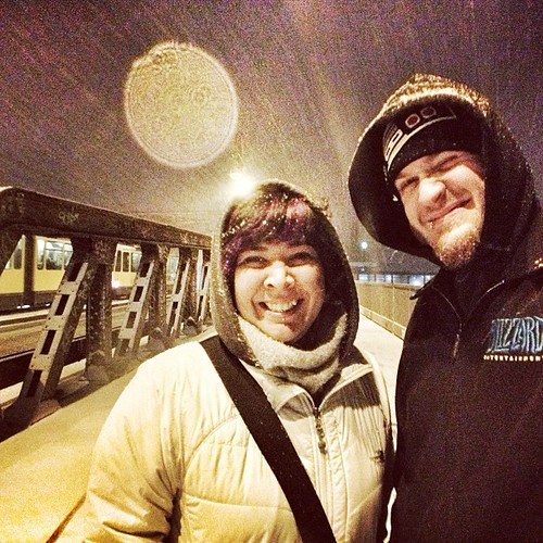 45/365 It is snowing in #Berlin! My first snow in a city!!! Headed out for #KashMassive. Happy birthday Kash! #365days