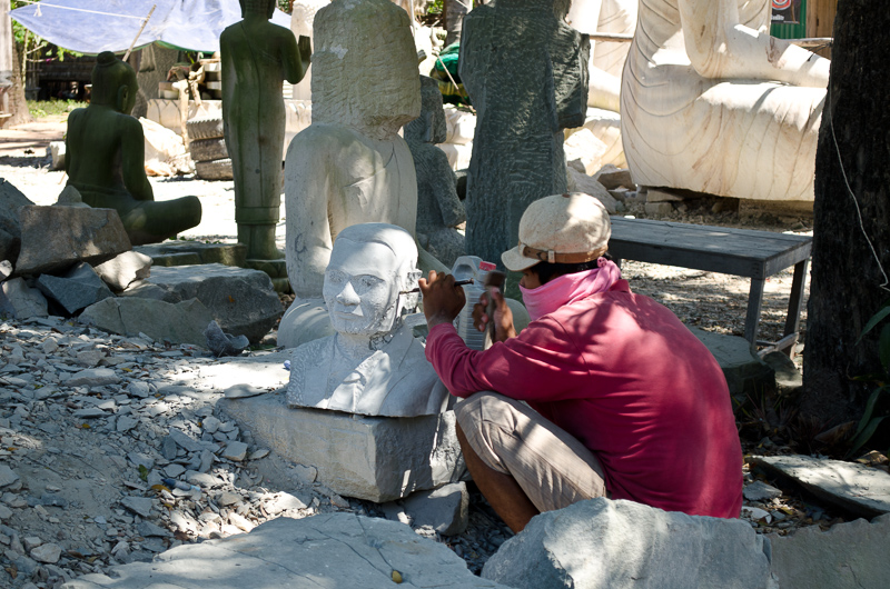 Carving Stone Statues in Cambodia