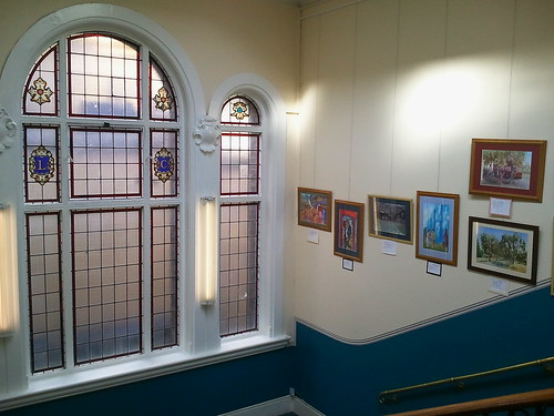 Stained glass window in stairwell of Brixton Library