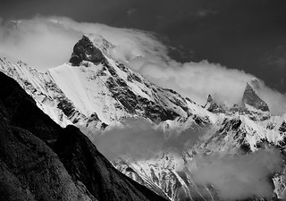 Broad Peak (8051 m)  in clouds, Karakorum