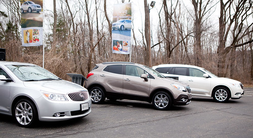 Some of the Buick vehicles to test drive: Regal (far left), Encore (center), and Enclave (right)