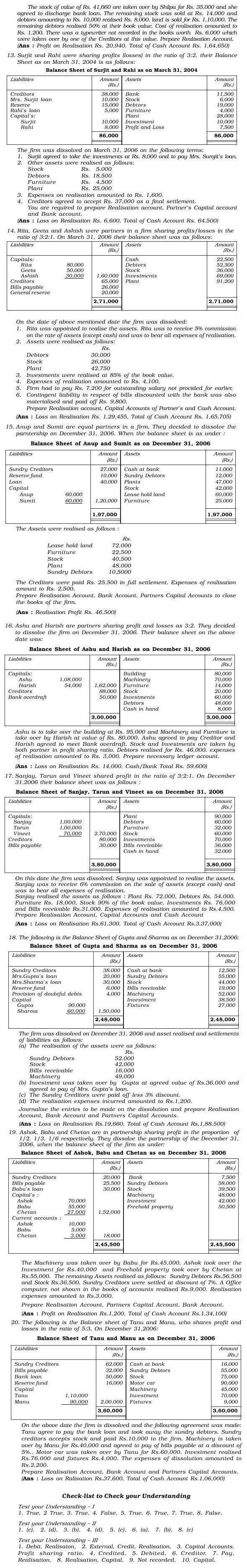 NCERT Class XII Accountancy I Chapter 5 - Dissolution of Partnership Firm