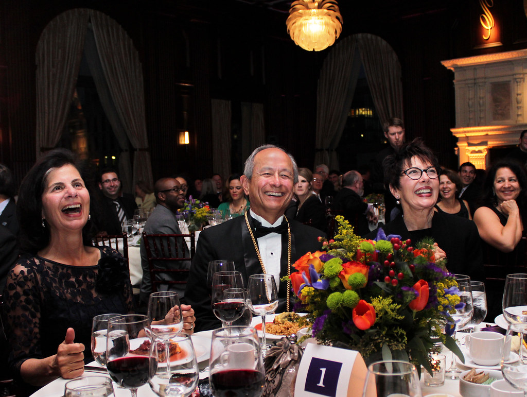 President Wong enjoys dinner at the San Francisco State University's alumni Hall of Fame dinner with his wife Phyllis Wong (far left) on Friday, March 15, 2013. Photo by Erica Marquez / Xpress
