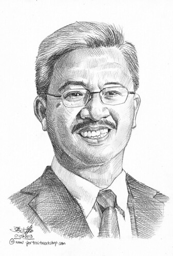 Pencil portrait for Chinese Swimming Club Dick Lee - 5