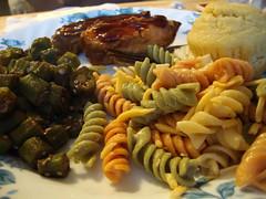 Boneless Ribs, Rotini Salad, Corn Muffin And Okra.