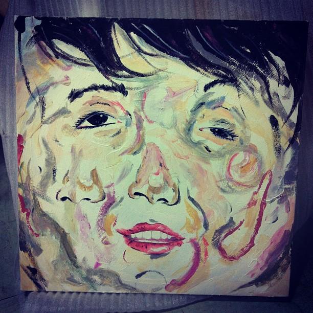 STRETCH MY FACE 12 X 12inch acrylic on canvas. ks©2011
