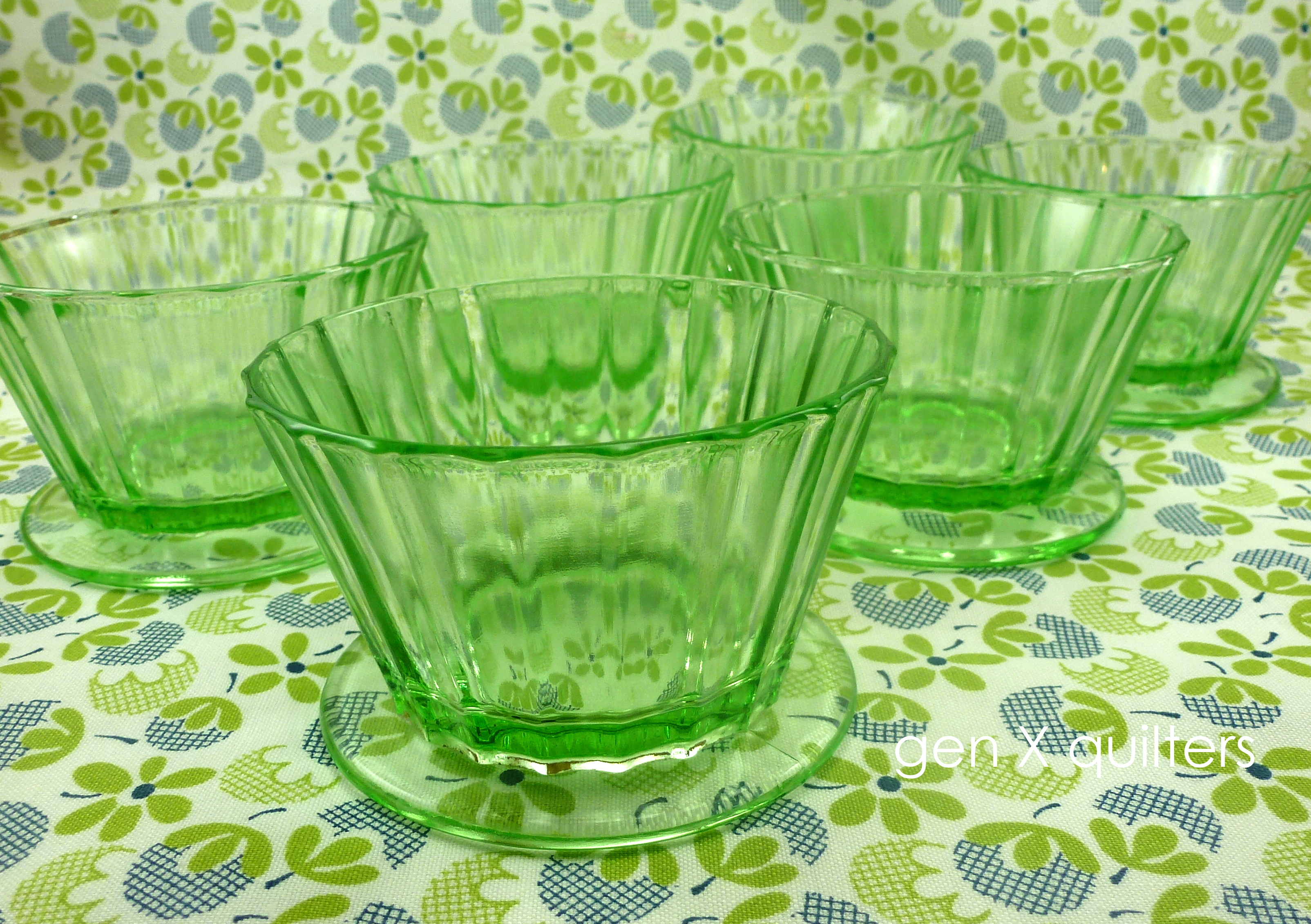 depression glass custard cups set of 6