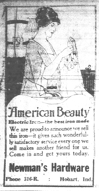 Ad for American Beauty electric iron