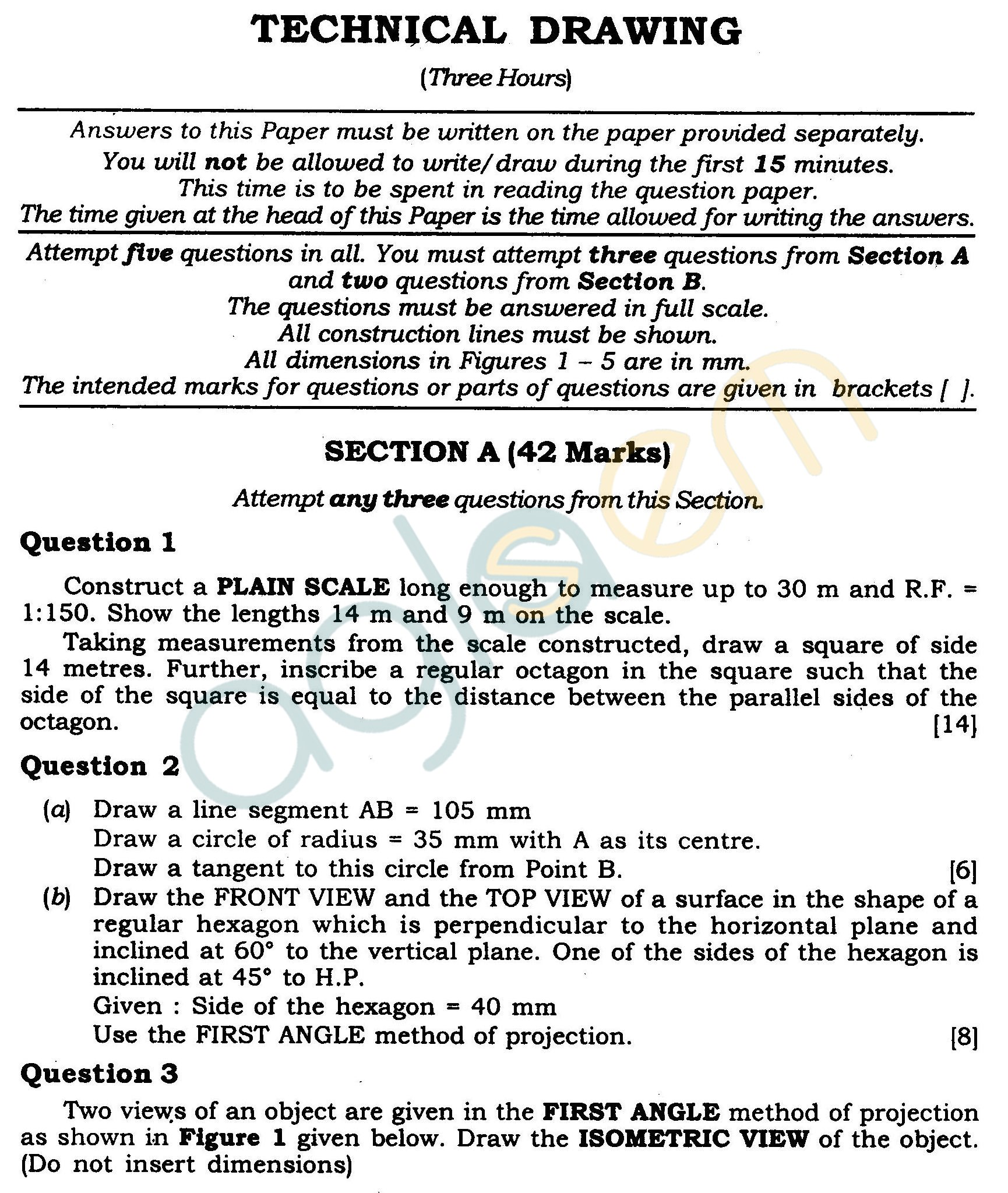 Icse Class X Exam Question Papers 2012 Technical Drawing Aglasem