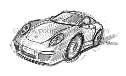 porsche 911 sketch style proposal 2 (watermarked)