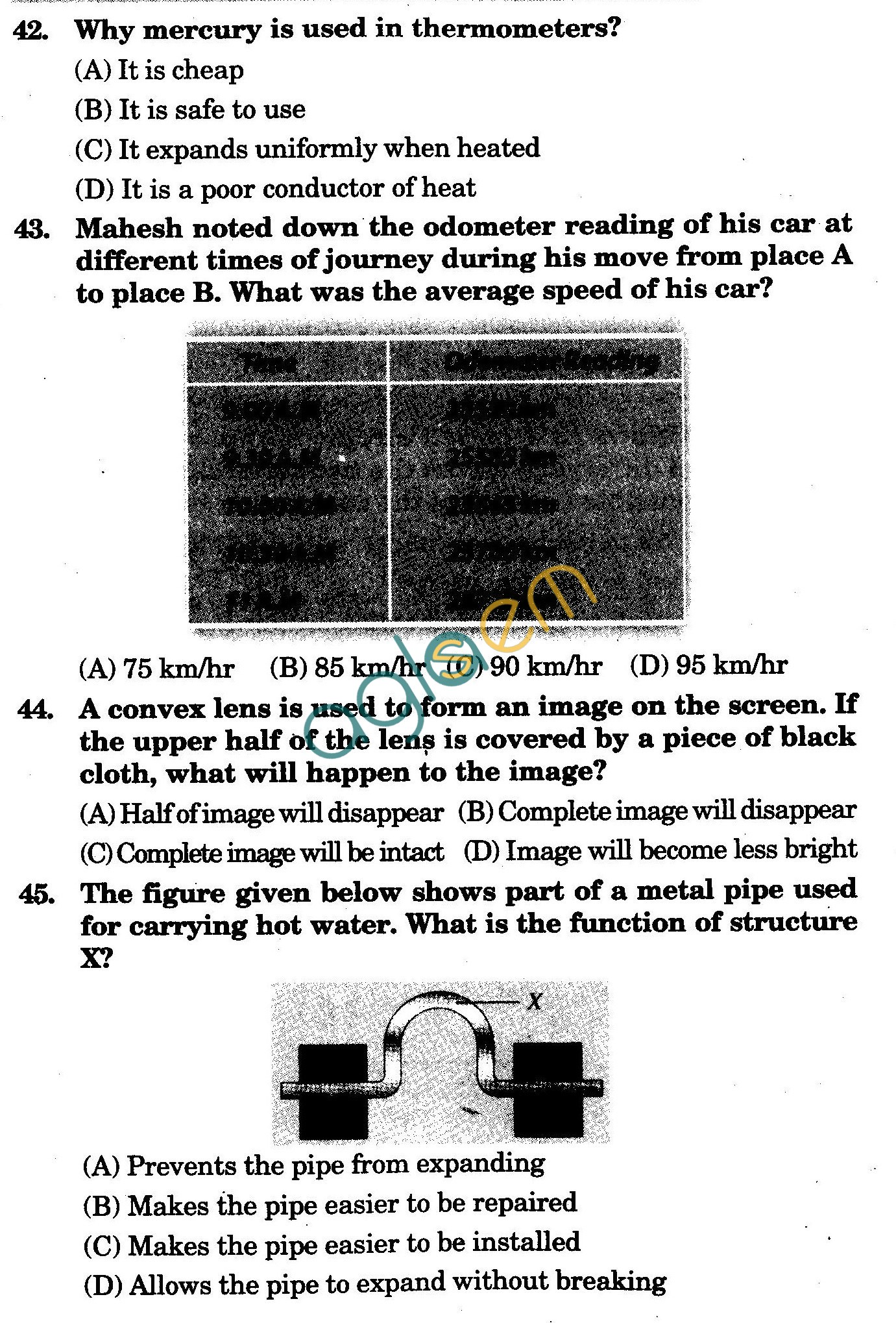 NSTSE 2009 Class VII Question Paper with Answers - Physics