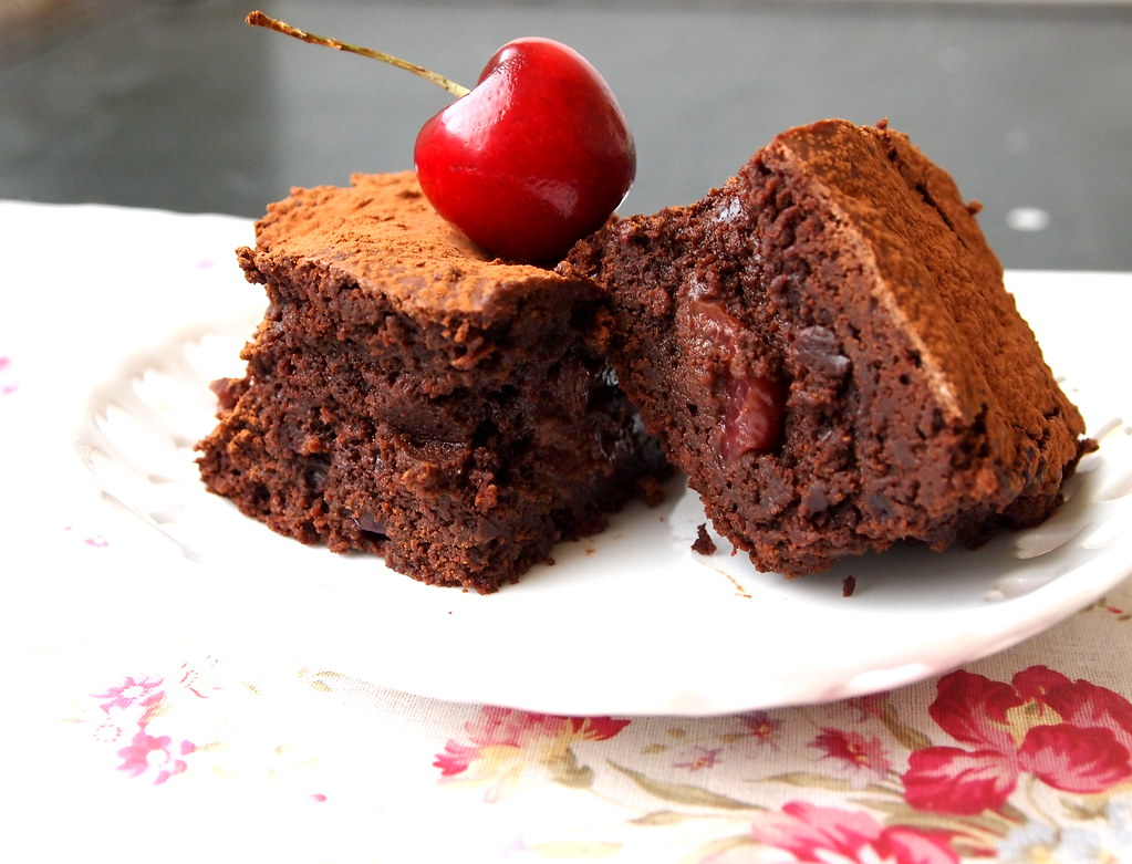 ... kitchen: Roasted Cherry Dark Chocolate Truffle Brownies with a Kick