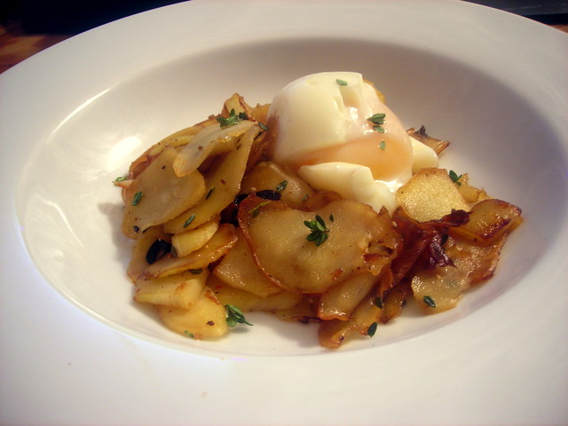 "Soft-cooked egg, parsnip ""home fries"""